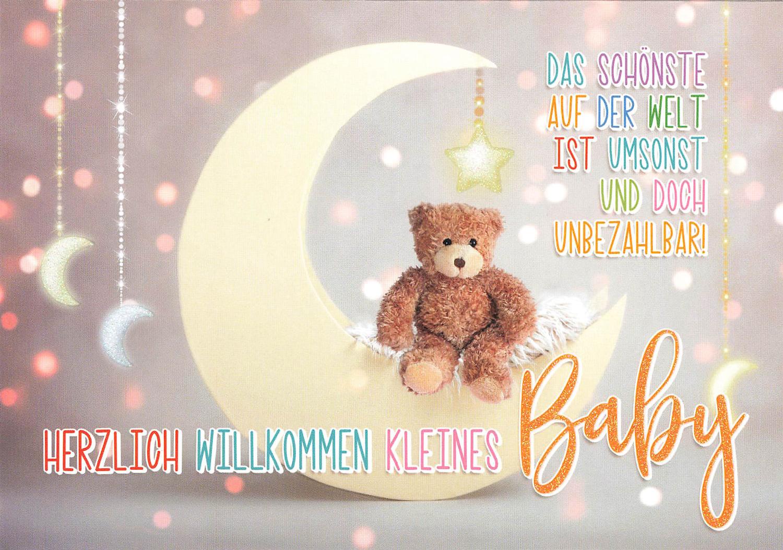 Glückwunschkarte Herzlich Willkommen kleines Baby