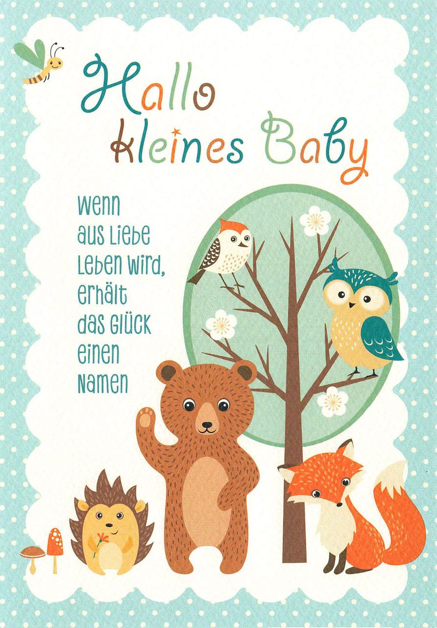 Glückwunschkarte Hallo kleines Baby Tierbaum