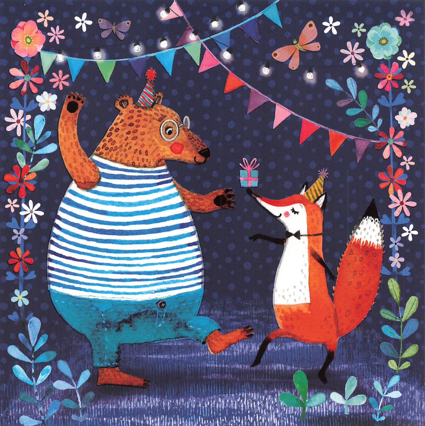 Glückwunschkarte Bär und Fuchs