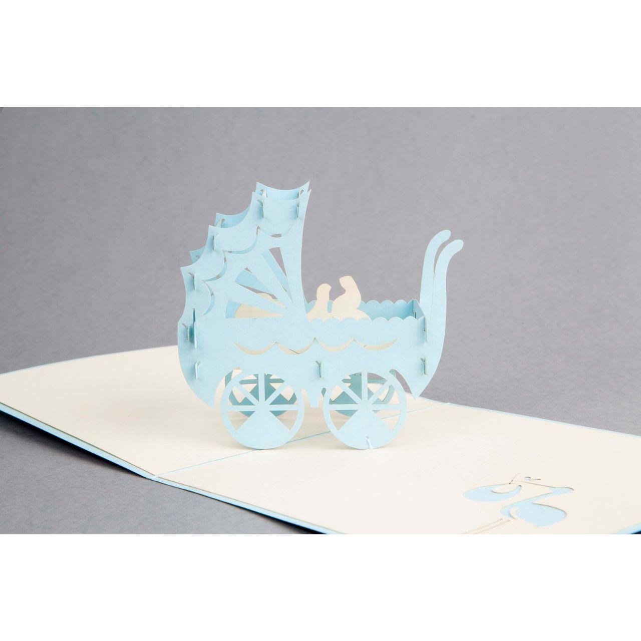 Glückwunschkarte Pop Up Kinderwagen - blau